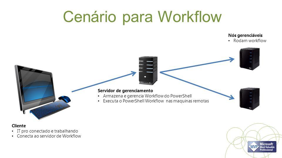 Cenário para Workflow Cliente IT pro conectado e trabalhando Conecta ao servidor de Workflow Servidor de gerenciamento Armazena e gerencia Workflow do PowerShell Executa o PowerShell Workflow nas maquinas remotas Nós gerenciáveis Rodam workflow