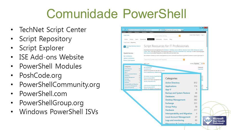 Comunidade PowerShell TechNet Script Center Script Repository Script Explorer ISE Add-ons Website PowerShell Modules PoshCode.org PowerShellCommunity.org PowerShell.com PowerShellGroup.org Windows PowerShell ISVs