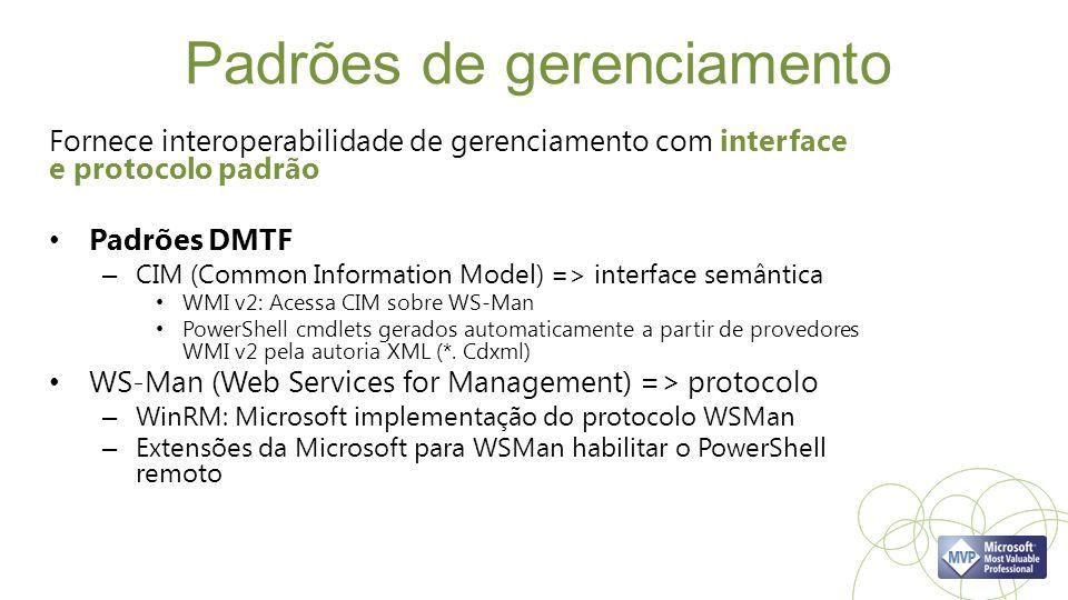 Padrões de gerenciamento Fornece interoperabilidade de gerenciamento com interface e protocolo padrão Padrões DMTF – CIM (Common Information Model) => interface semântica WMI v2: Acessa CIM sobre WS-Man PowerShell cmdlets gerados automaticamente a partir de provedores WMI v2 pela autoria XML (*.