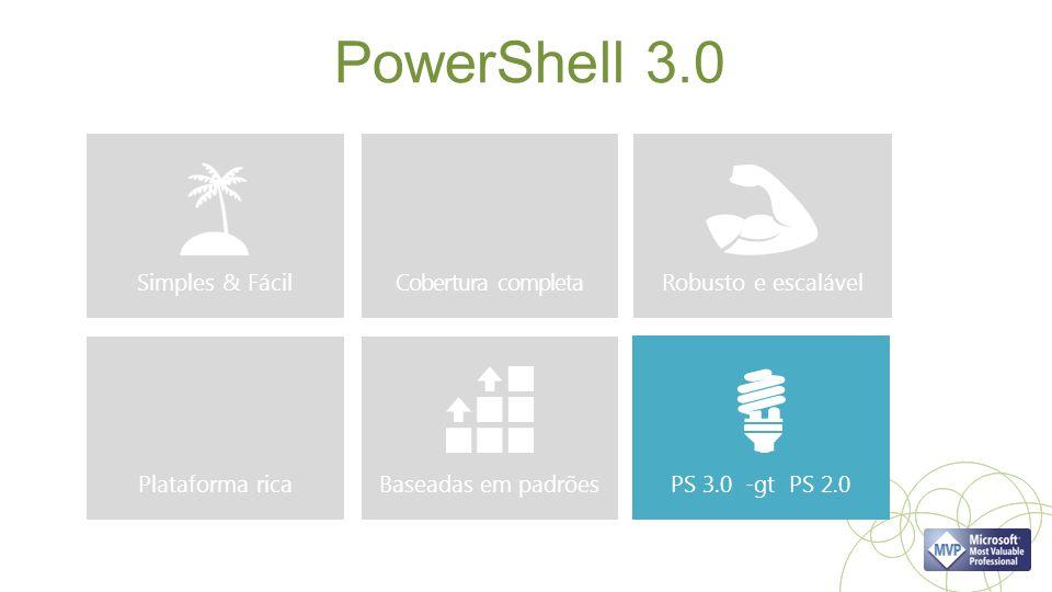 PowerShell 3.0 Simples & Fácil PS 3.0 -gt PS 2.0 Robusto e escalável Cobertura completa Plataforma ricaBaseadas em padrões