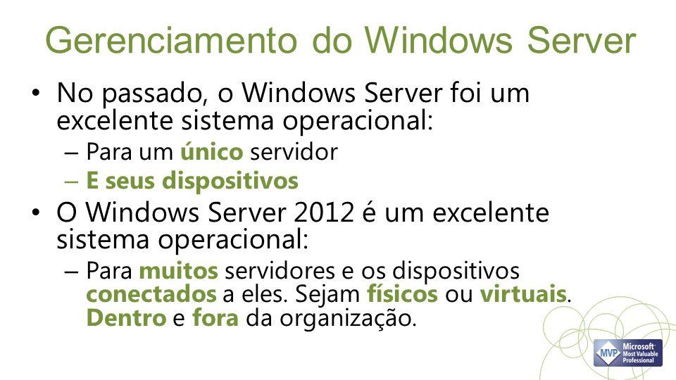 Gerenciamento do Windows Server No passado, o Windows Server foi um excelente sistema operacional: – Para um único servidor – E seus dispositivos O Windows Server 2012 é um excelente sistema operacional: – Para muitos servidores e os dispositivos conectados a eles.