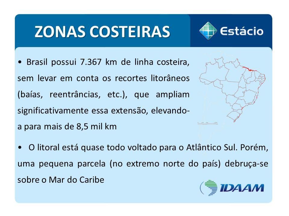 Brasil possui 7.367 km de linha costeira, sem levar em conta os recortes litorâneos (baías, reentrâncias, etc.), que ampliam significativamente essa e