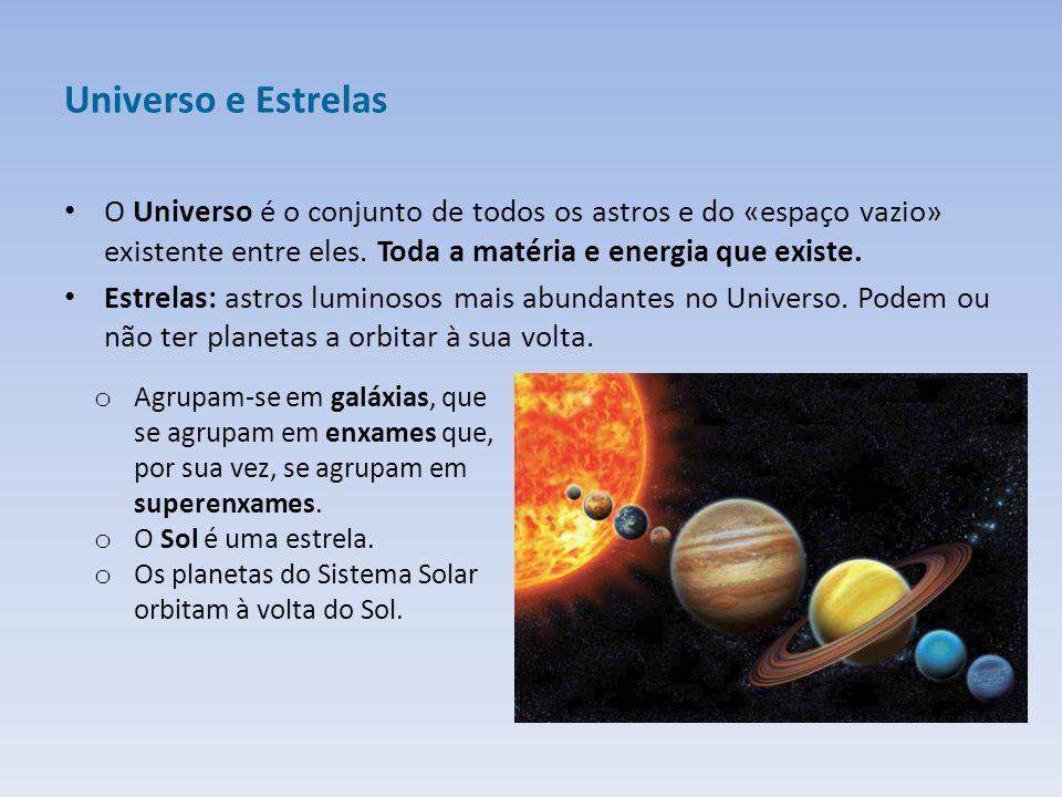 Universo e Estrelas O Universo é o conjunto de todos os astros e do «espaço vazio» existente entre eles. Toda a matéria e energia que existe. Estrelas