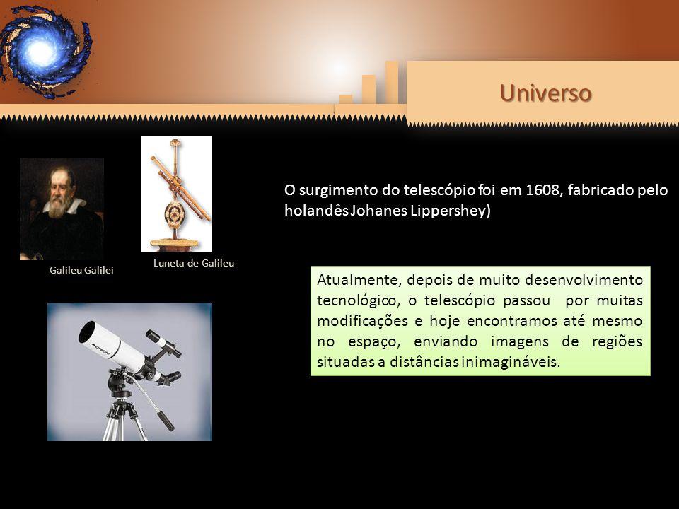 UniversoUniverso Galileu Galilei Luneta de Galileu O surgimento do telescópio foi em 1608, fabricado pelo holandês Johanes Lippershey) Atualmente, dep