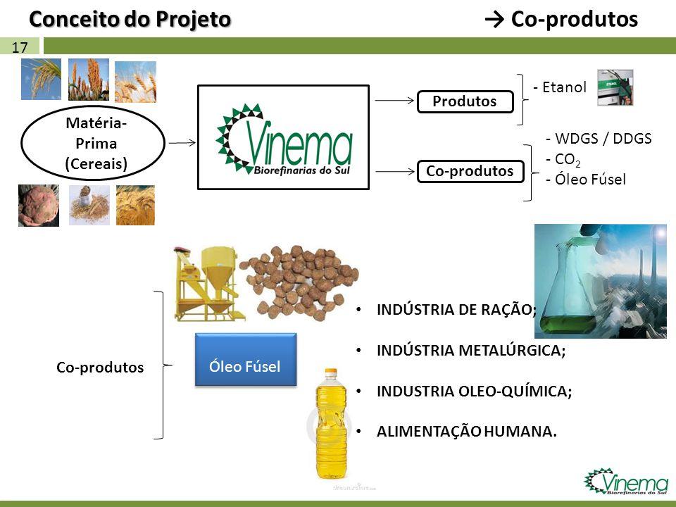 17 Matéria- Prima (Cereais) Co-produtos Conceito do Projeto Conceito do Projeto Co-produtos - Etanol Produtos Co-produtos Óleo Fúsel INDÚSTRIA DE RAÇÃ