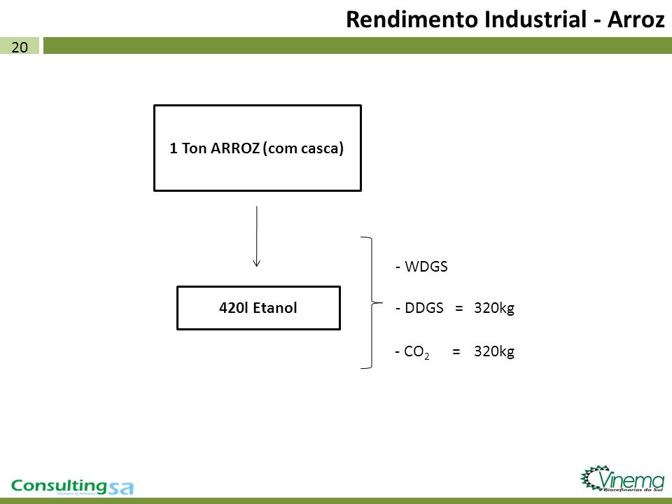 20 Rendimento Industrial - Arroz 1 Ton ARROZ (com casca) 420l Etanol - WDGS - DDGS = - CO 2 = 320kg