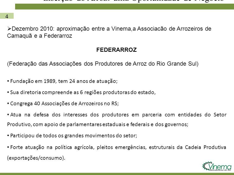 4 Inserção do Arroz: uma Oportunidade de Negócio Dezembro 2010: aproximação entre a Vinema,a Associacão de Arrozeiros de Camaquã e a Federarroz FEDERA