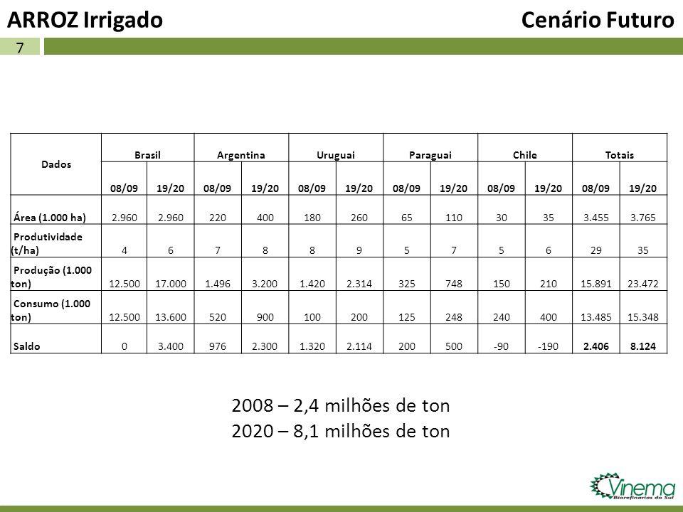 7 ARROZ Irrigado Cenário Futuro Dados BrasilArgentinaUruguaiParaguaiChileTotais 08/0919/2008/0919/2008/0919/2008/0919/2008/0919/2008/0919/20 Área (1.0