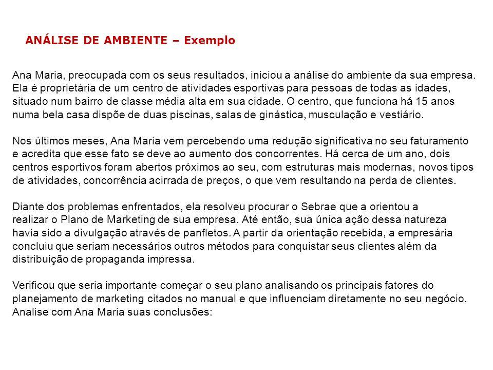 ANÁLISE DE AMBIENTE – Exemplo Ana Maria, preocupada com os seus resultados, iniciou a análise do ambiente da sua empresa. Ela é proprietária de um cen