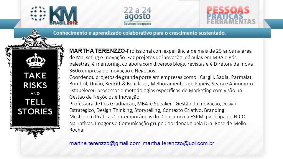 MARTHA TERENZZO- Profissional com experiência de mais de 25 anos na área de Marketing e Inovação. Faz projetos de inovação, dá aulas em MBA e Pós, pal