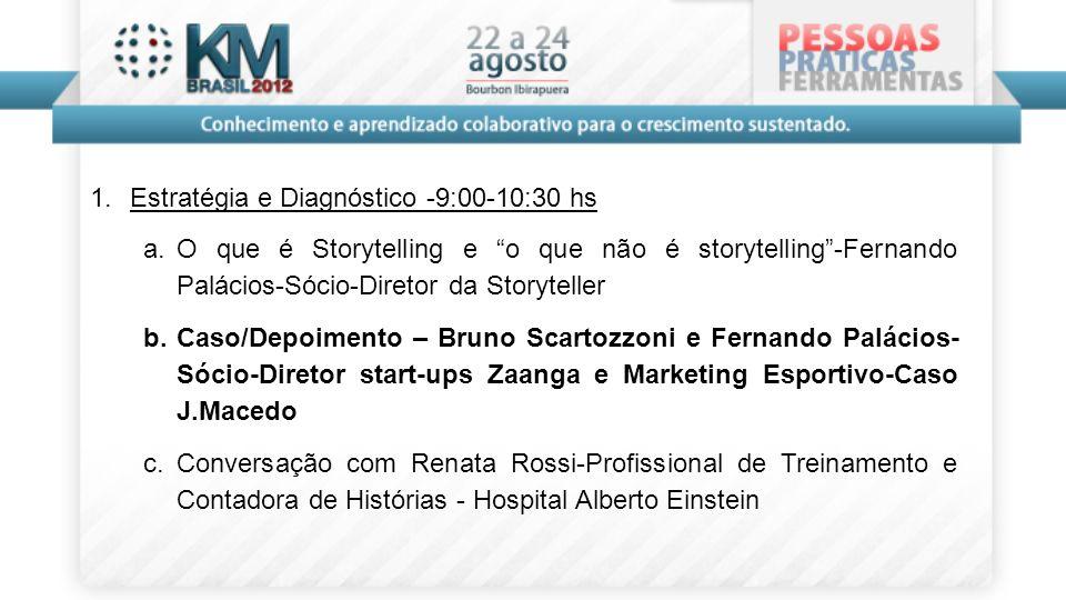 1. Estratégia e Diagnóstico -9:00-10:30 hs a. O que é Storytelling e o que não é storytelling-Fernando Palácios-Sócio-Diretor da Storyteller b. Caso/D