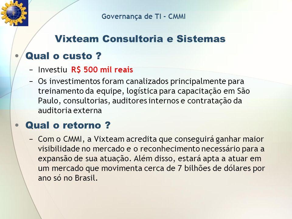 Vixteam Consultoria e Sistemas Qual o custo ? Investiu R$ 500 mil reais Os investimentos foram canalizados principalmente para treinamento da equipe,