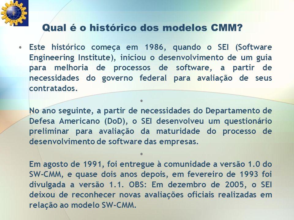 Qual é o histórico dos modelos CMM? Este histórico começa em 1986, quando o SEI (Software Engineering Institute), iniciou o desenvolvimento de um guia