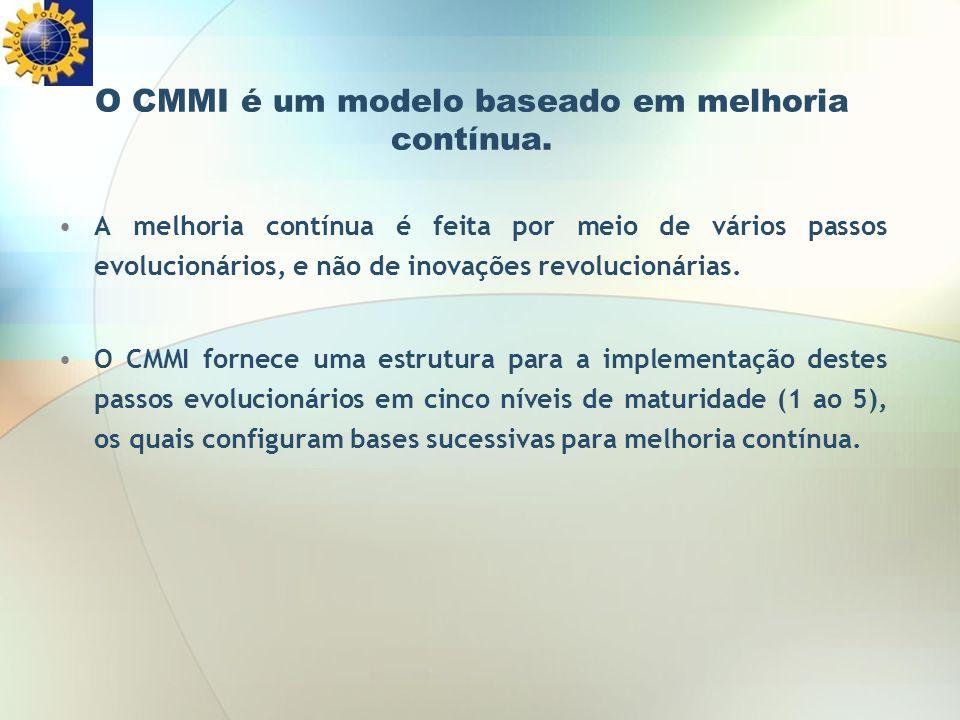 O CMMI é um modelo baseado em melhoria contínua. A melhoria contínua é feita por meio de vários passos evolucionários, e não de inovações revolucionár