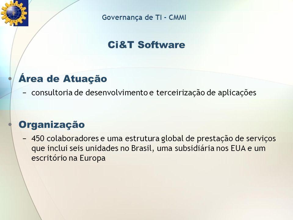 Ci&T Software Área de Atuação consultoria de desenvolvimento e terceirização de aplicações Organização 450 colaboradores e uma estrutura global de pre