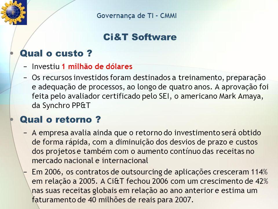 Ci&T Software Qual o custo ? Investiu 1 milhão de dólares Os recursos investidos foram destinados a treinamento, preparação e adequação de processos,