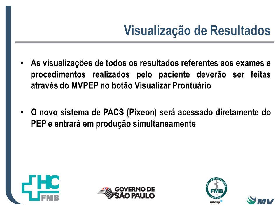 Visualização de Resultados As visualizações de todos os resultados referentes aos exames e procedimentos realizados pelo paciente deverão ser feitas através do MVPEP no botão Visualizar Prontuário O novo sistema de PACS (Pixeon) será acessado diretamente do PEP e entrará em produção simultaneamente