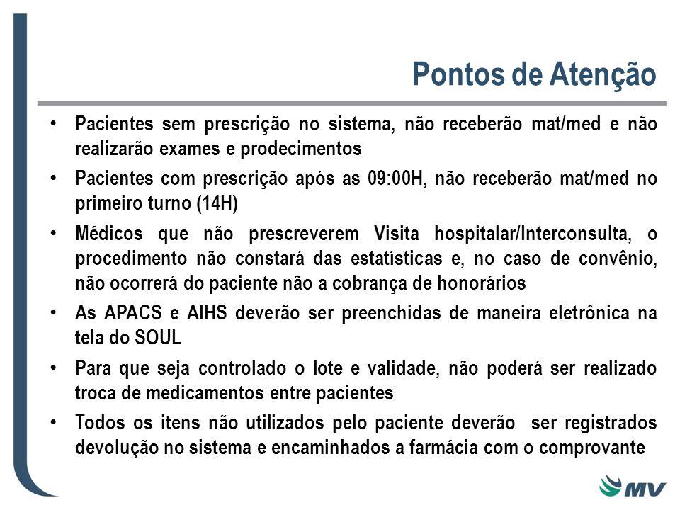 Pontos de Atenção Pacientes sem prescrição no sistema, não receberão mat/med e não realizarão exames e prodecimentos Pacientes com prescrição após as 09:00H, não receberão mat/med no primeiro turno (14H) Médicos que não prescreverem Visita hospitalar/Interconsulta, o procedimento não constará das estatísticas e, no caso de convênio, não ocorrerá do paciente não a cobrança de honorários As APACS e AIHS deverão ser preenchidas de maneira eletrônica na tela do SOUL Para que seja controlado o lote e validade, não poderá ser realizado troca de medicamentos entre pacientes Todos os itens não utilizados pelo paciente deverão ser registrados devolução no sistema e encaminhados a farmácia com o comprovante