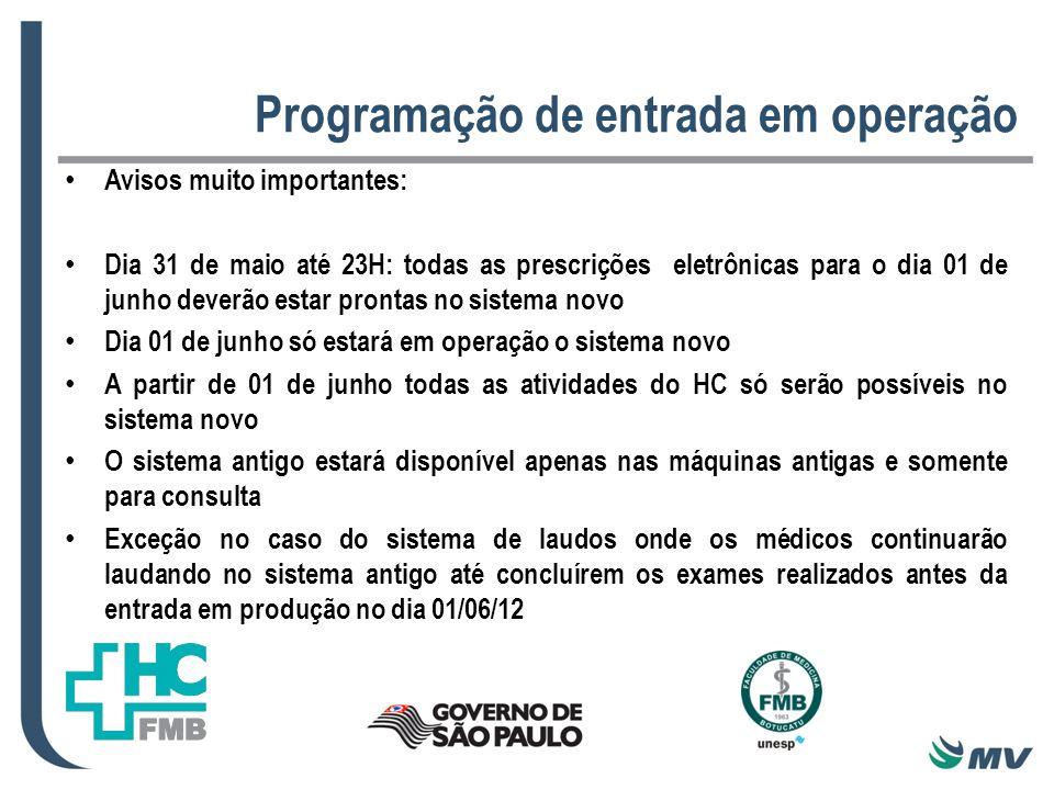Programação de entrada em operação Avisos muito importantes: Dia 31 de maio até 23H: todas as prescrições eletrônicas para o dia 01 de junho deverão e