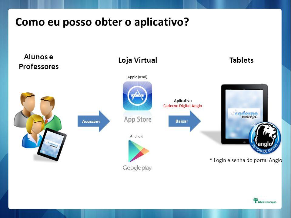 Alunos e Professores Acessam Loja VirtualTablets * Login e senha do portal Anglo Apple (iPad) Android Baixar Aplicativo Caderno Digital Anglo Como eu