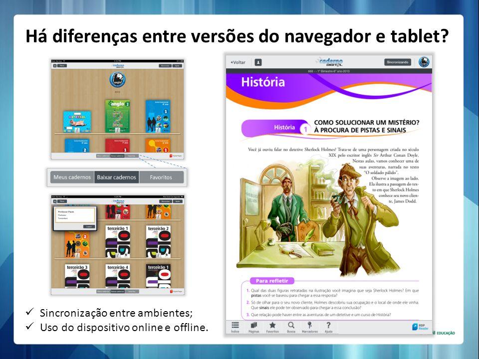 Sincronização entre ambientes; Uso do dispositivo online e offline. Há diferenças entre versões do navegador e tablet?