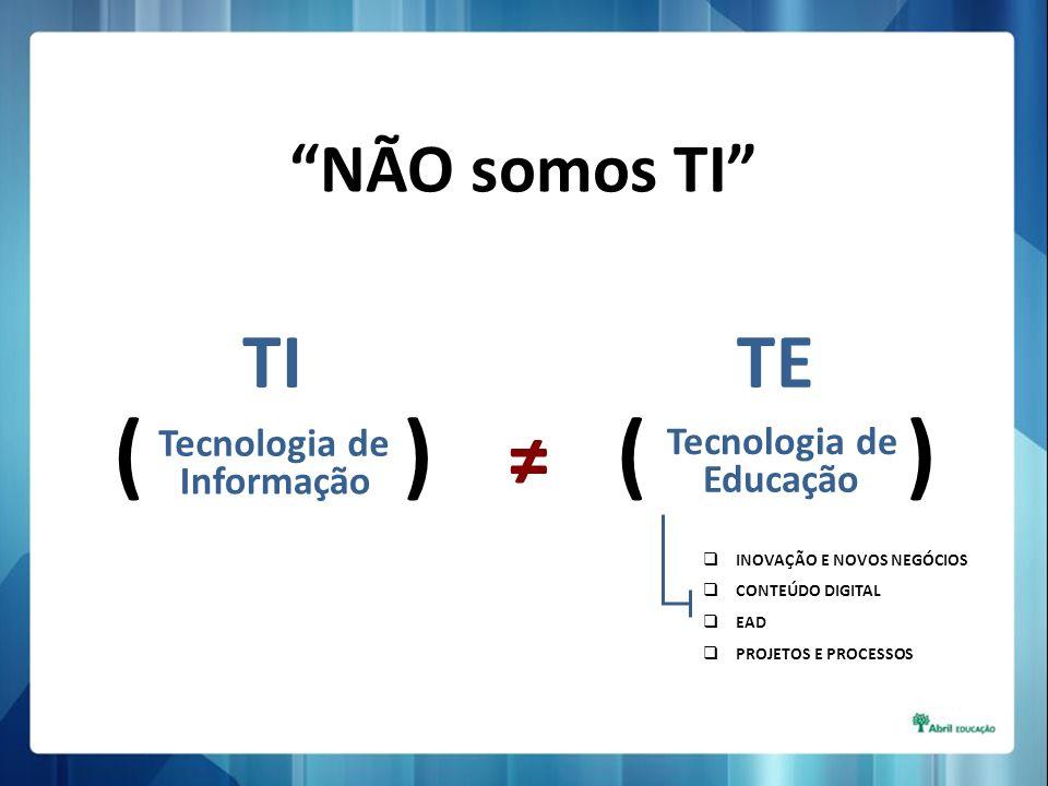 NÃO somos TI ( ) TI Tecnologia de Informação TE Tecnologia de Educação INOVAÇÃO E NOVOS NEGÓCIOS CONTEÚDO DIGITAL EAD PROJETOS E PROCESSOS