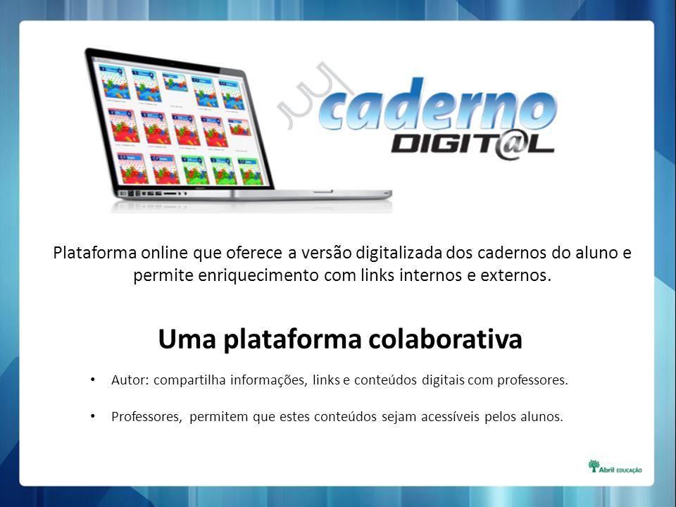 Plataforma online que oferece a versão digitalizada dos cadernos do aluno e permite enriquecimento com links internos e externos. Uma plataforma colab