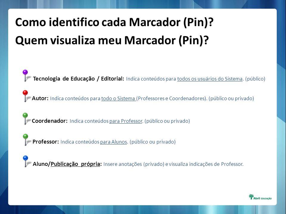 Tecnologia de Educação / Editorial: Indica conteúdos para todos os usuários do Sistema. (público) Coordenador: Indica conteúdos para Professor. (públi