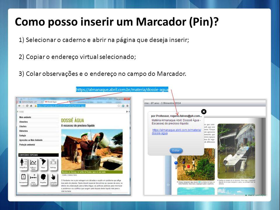 Como posso inserir um Marcador (Pin)? 1) Selecionar o caderno e abrir na página que deseja inserir; 2) Copiar o endereço virtual selecionado; 3) Colar