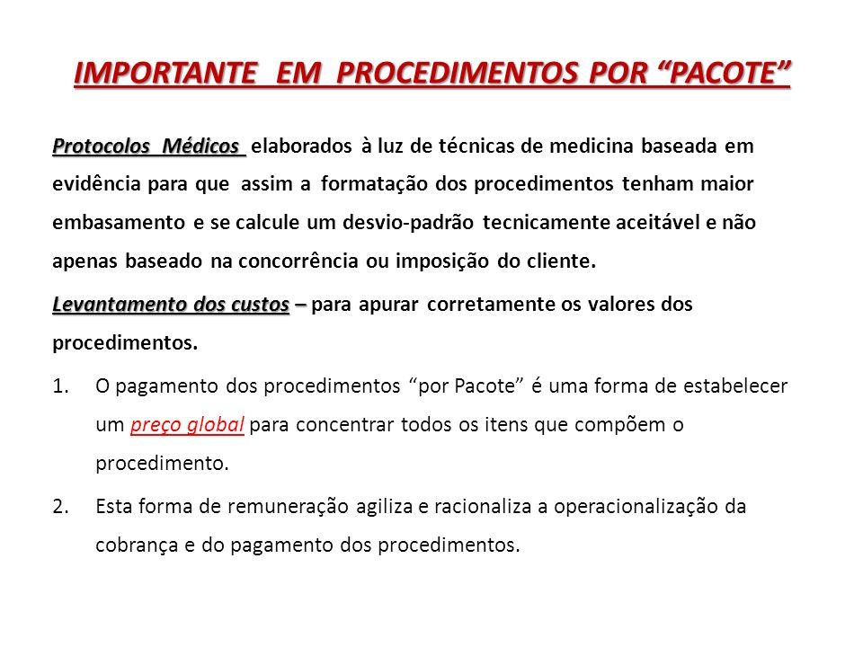 IMPORTANTE EM PROCEDIMENTOS POR PACOTE 3.