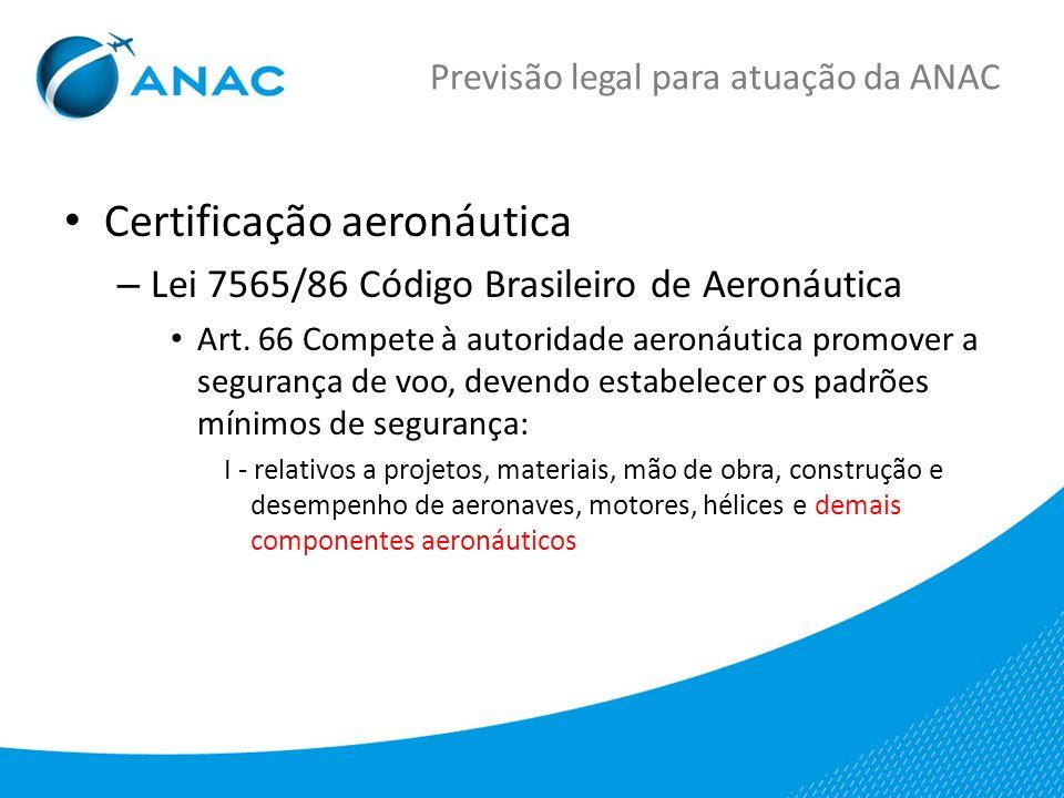 Previsão legal para atuação da ANAC Certificação aeronáutica – Lei 7565/86 Código Brasileiro de Aeronáutica Art.