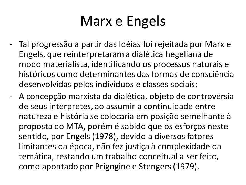 Marx e Engels -Tal progressão a partir das Idéias foi rejeitada por Marx e Engels, que reinterpretaram a dialética hegeliana de modo materialista, identificando os processos naturais e históricos como determinantes das formas de consciência desenvolvidas pelos indivíduos e classes sociais; -A concepção marxista da dialética, objeto de controvérsia de seus intérpretes, ao assumir a continuidade entre natureza e história se colocaria em posição semelhante à proposta do MTA, porém é sabido que os esforços neste sentido, por Engels (1978), devido a diversos fatores limitantes da época, não fez justiça à complexidade da temática, restando um trabalho conceitual a ser feito, como apontado por Prigogine e Stengers (1979).