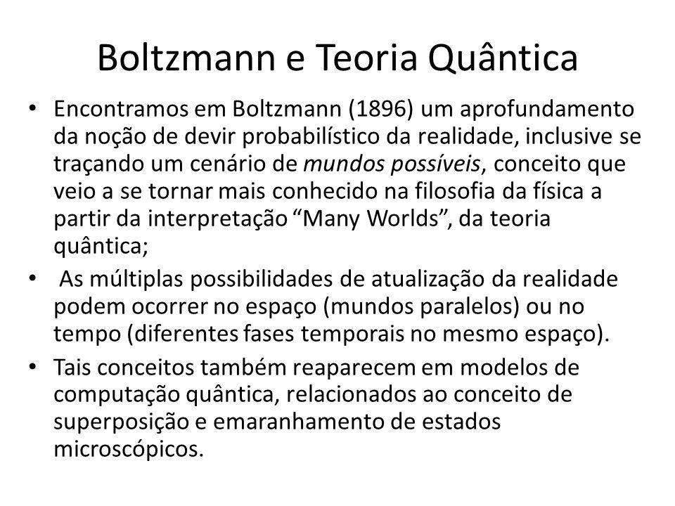 Boltzmann e Teoria Quântica Encontramos em Boltzmann (1896) um aprofundamento da noção de devir probabilístico da realidade, inclusive se traçando um cenário de mundos possíveis, conceito que veio a se tornar mais conhecido na filosofia da física a partir da interpretação Many Worlds, da teoria quântica; As múltiplas possibilidades de atualização da realidade podem ocorrer no espaço (mundos paralelos) ou no tempo (diferentes fases temporais no mesmo espaço).