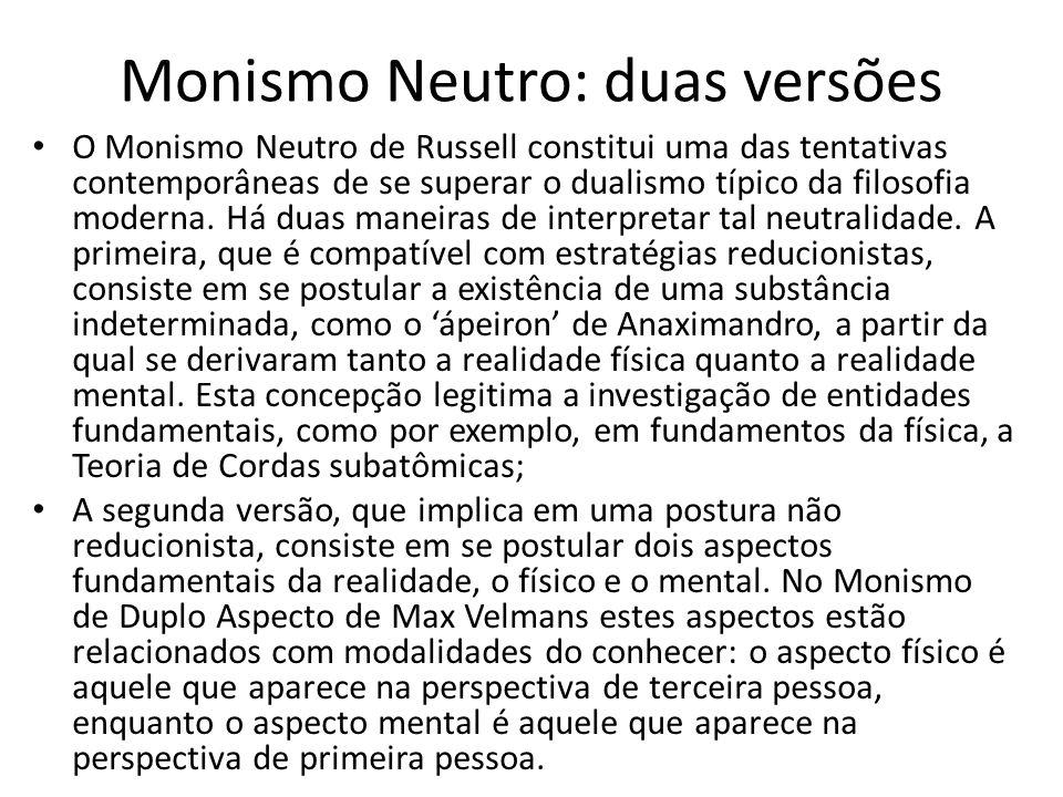 Monismo Neutro: duas versões O Monismo Neutro de Russell constitui uma das tentativas contemporâneas de se superar o dualismo típico da filosofia moderna.