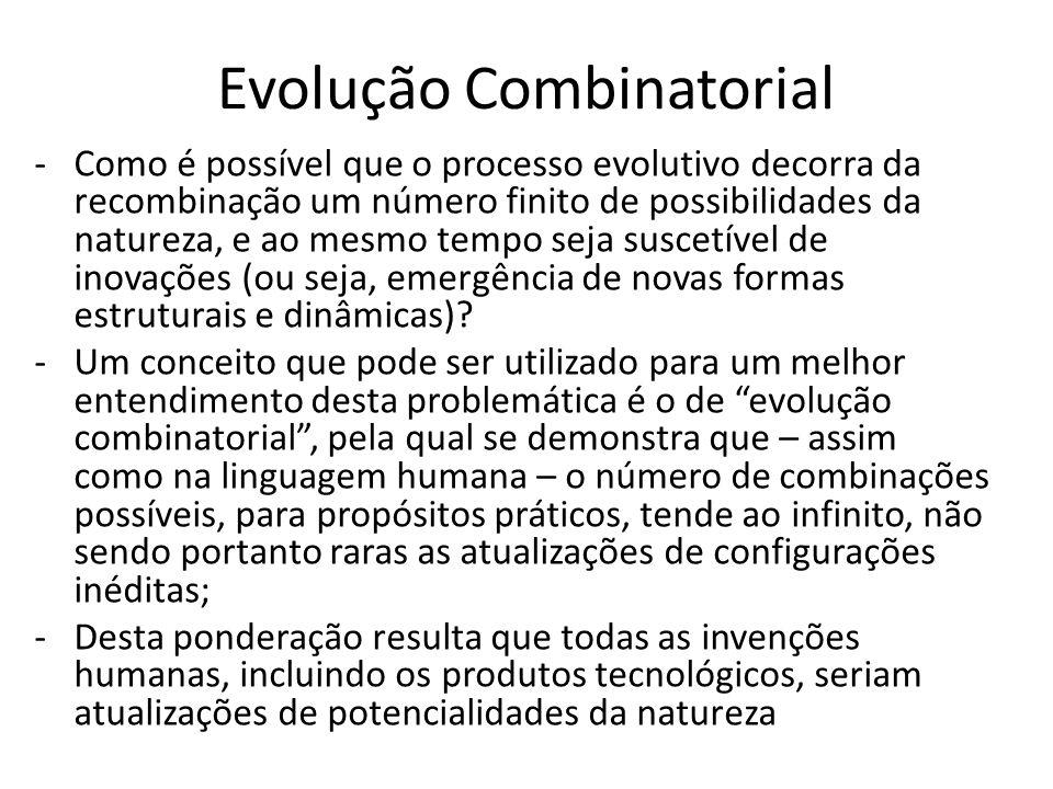 Evolução Combinatorial -Como é possível que o processo evolutivo decorra da recombinação um número finito de possibilidades da natureza, e ao mesmo tempo seja suscetível de inovações (ou seja, emergência de novas formas estruturais e dinâmicas).