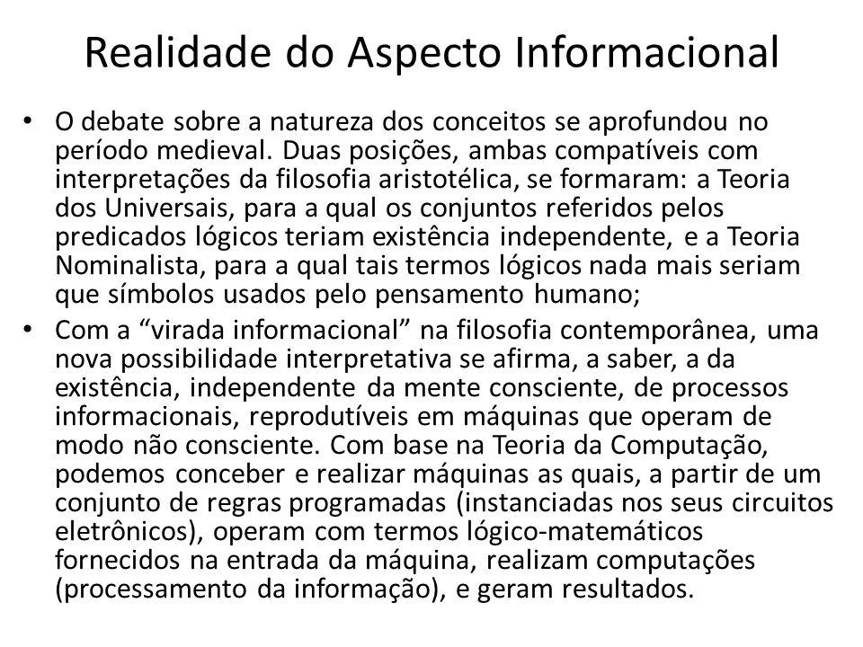 Realidade do Aspecto Informacional O debate sobre a natureza dos conceitos se aprofundou no período medieval.
