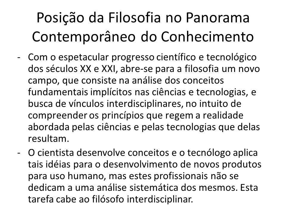 Posição da Filosofia no Panorama Contemporâneo do Conhecimento -Com o espetacular progresso científico e tecnológico dos séculos XX e XXI, abre-se par