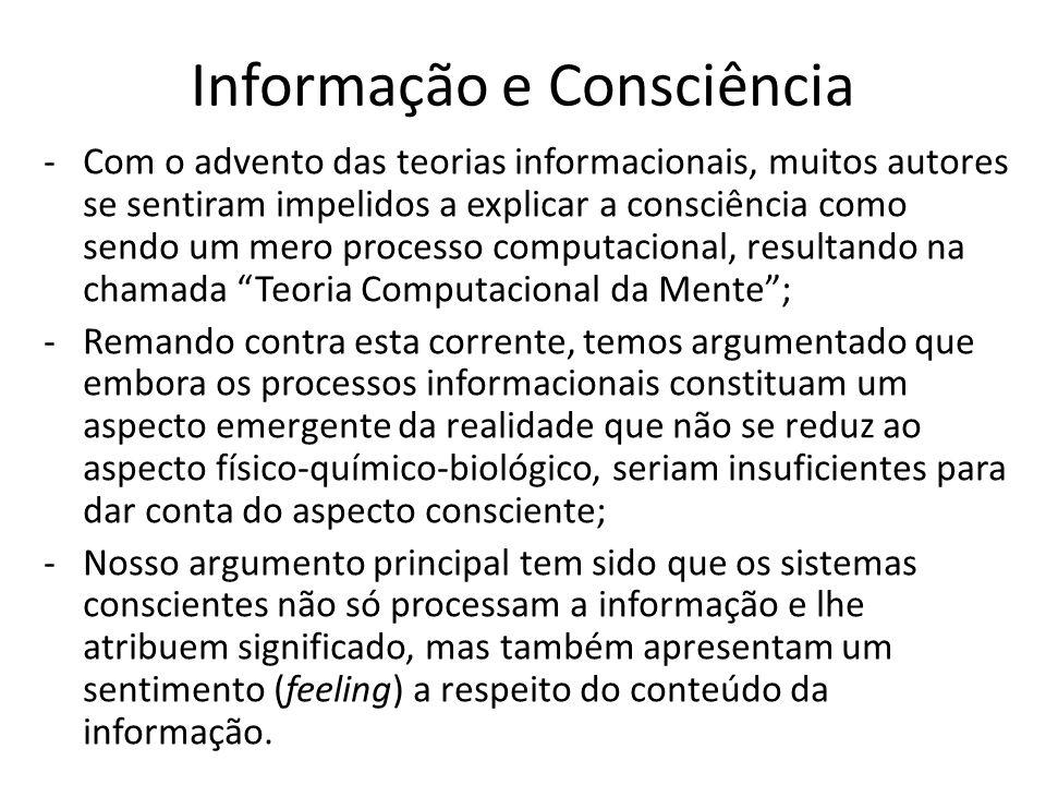 Informação e Consciência -Com o advento das teorias informacionais, muitos autores se sentiram impelidos a explicar a consciência como sendo um mero p
