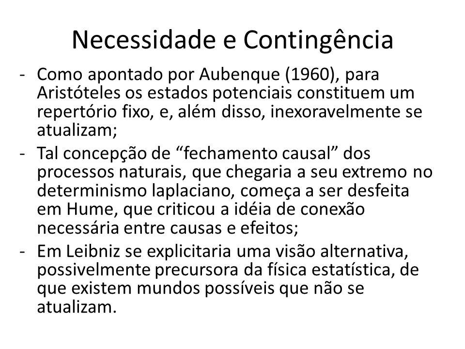 Necessidade e Contingência -Como apontado por Aubenque (1960), para Aristóteles os estados potenciais constituem um repertório fixo, e, além disso, in