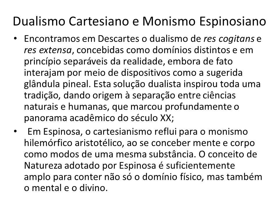 Dualismo Cartesiano e Monismo Espinosiano Encontramos em Descartes o dualismo de res cogitans e res extensa, concebidas como domínios distintos e em p