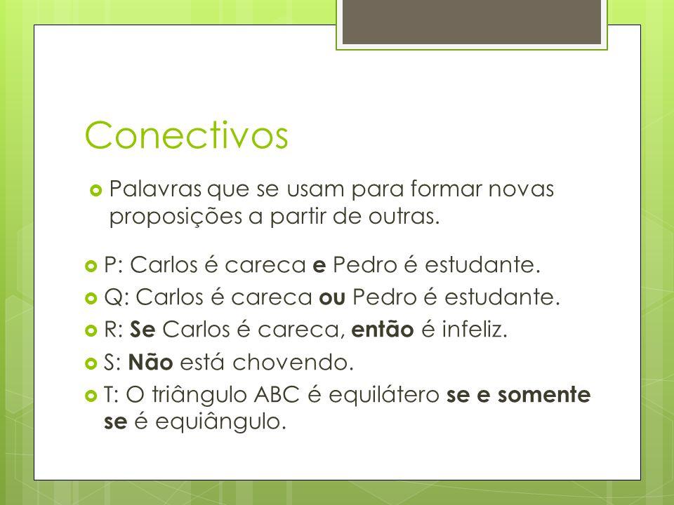 Conectivos Palavras que se usam para formar novas proposições a partir de outras.