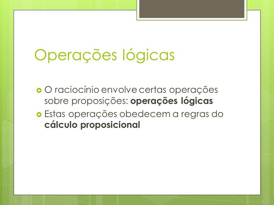 Operações lógicas O raciocínio envolve certas operações sobre proposições: operações lógicas Estas operações obedecem a regras do cálculo proposicional