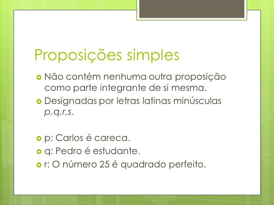 Proposições simples Não contém nenhuma outra proposição como parte integrante de si mesma.