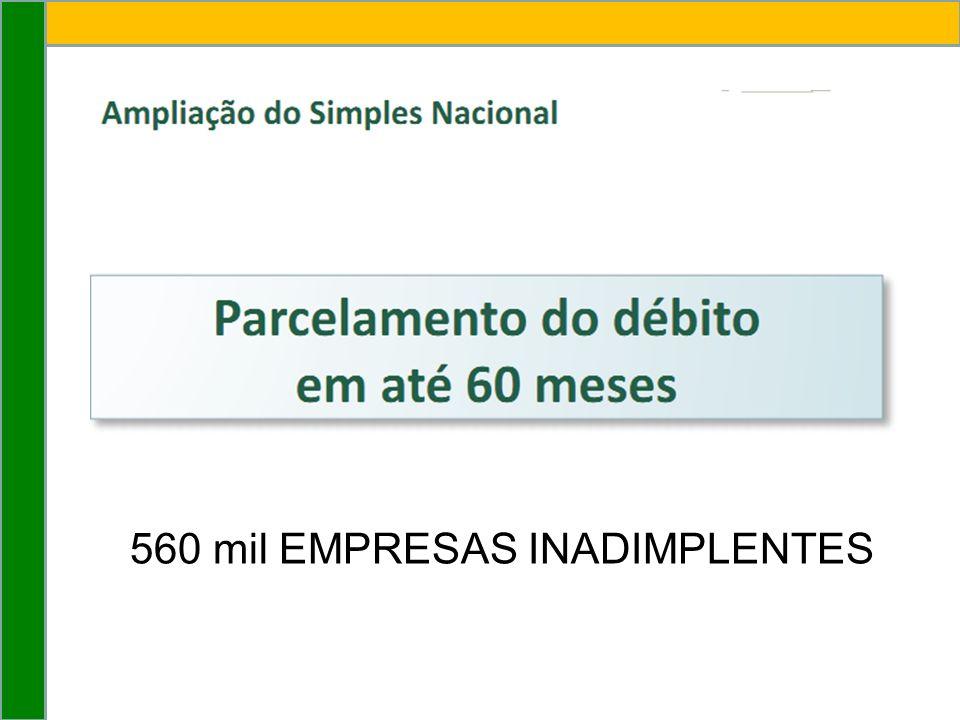 560 mil EMPRESAS INADIMPLENTES