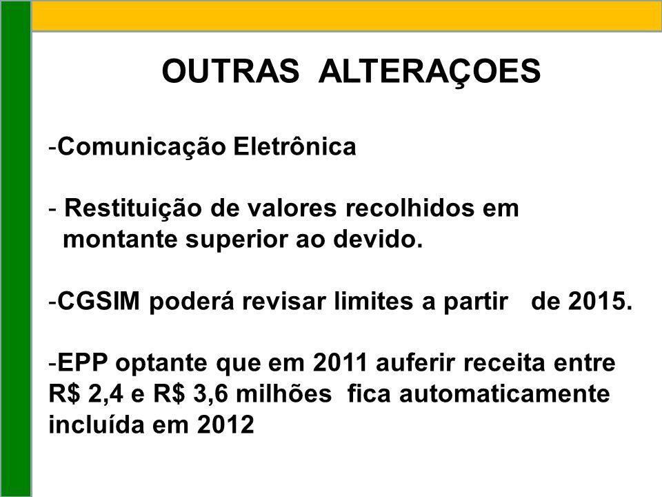 OUTRAS ALTERAÇOES -Comunicação Eletrônica - Restituição de valores recolhidos em montante superior ao devido.