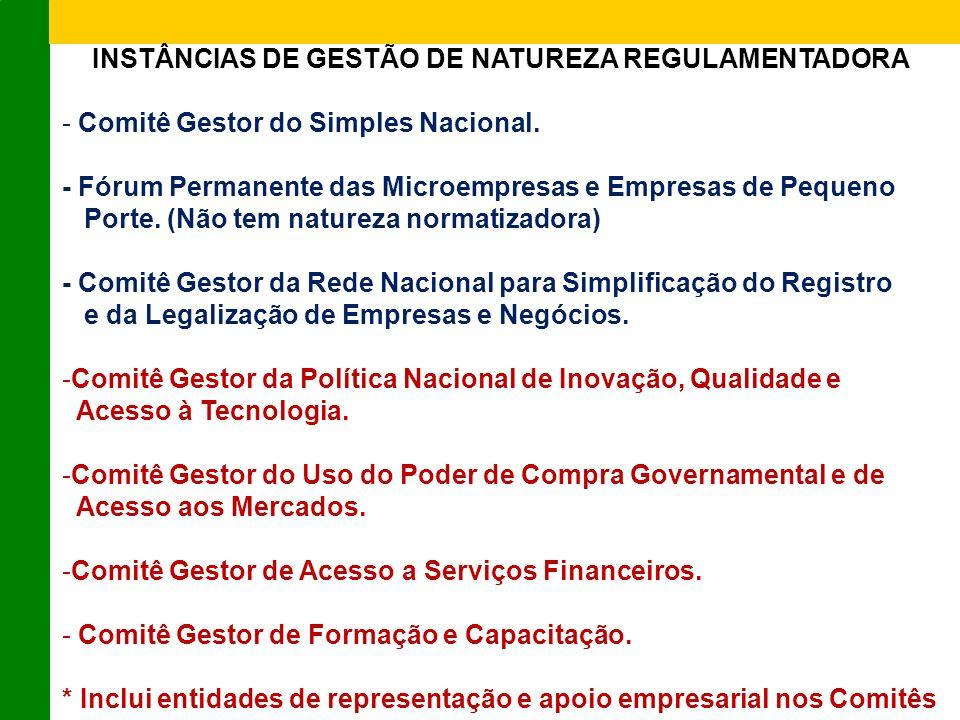 INSTÂNCIAS DE GESTÃO DE NATUREZA REGULAMENTADORA - Comitê Gestor do Simples Nacional.