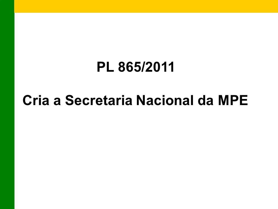 PL 865/2011 Cria a Secretaria Nacional da MPE