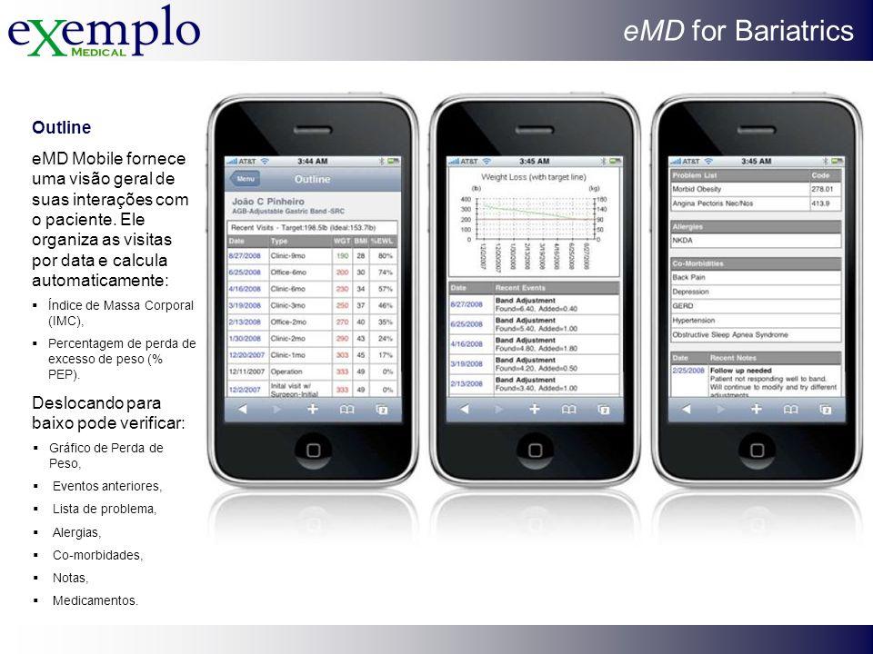 eMD for Bariatrics Outline eMD Mobile fornece uma visão geral de suas interações com o paciente. Ele organiza as visitas por data e calcula automatica