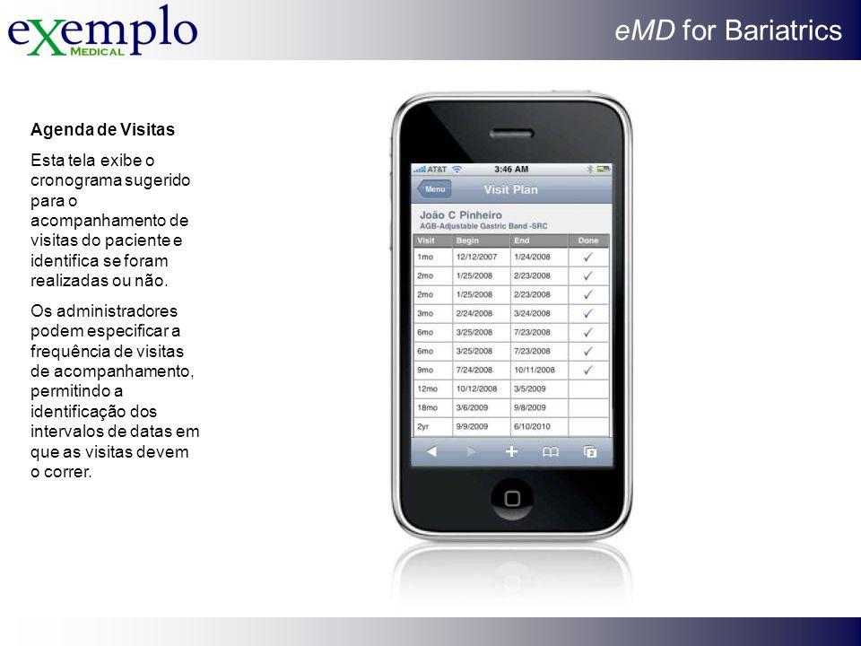 eMD for Bariatrics Agenda de Visitas Esta tela exibe o cronograma sugerido para o acompanhamento de visitas do paciente e identifica se foram realizad