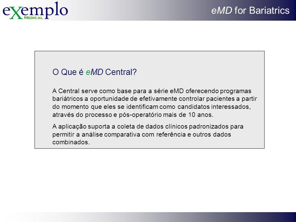 eMD for Bariatrics O Que é eMD Central? A Central serve como base para a série eMD oferecendo programas bariátricos a oportunidade de efetivamente con